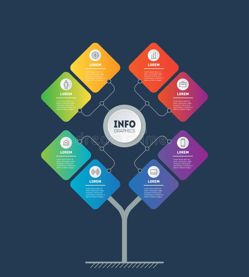 Business presentation concept with 8 options. Template of tree, info chart or diagram. Infographic of technology or education royalty free illustration