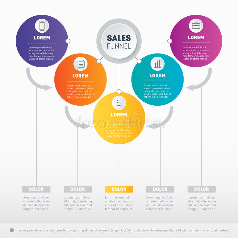 Business presentation concept with 5 options. Vector infographic of technology or education process with icons set. Web Template. Of a sales pipeline, purchase vector illustration