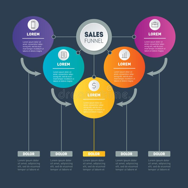 Business presentation concept with 5 options. Vector infographic of technology or education process. Investor presentation. Web T. Emplate of a sales pipeline royalty free illustration