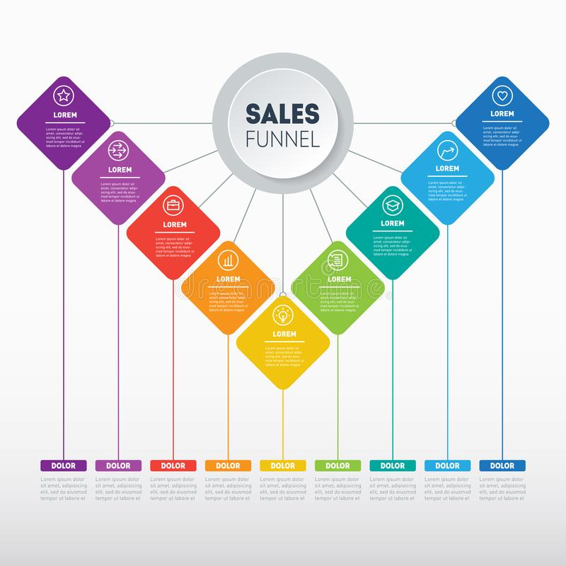 Business presentation concept with 9 options. Vector infographic. Of technology or education process with 9 steps. Web Template of a sales pipeline, purchase royalty free illustration