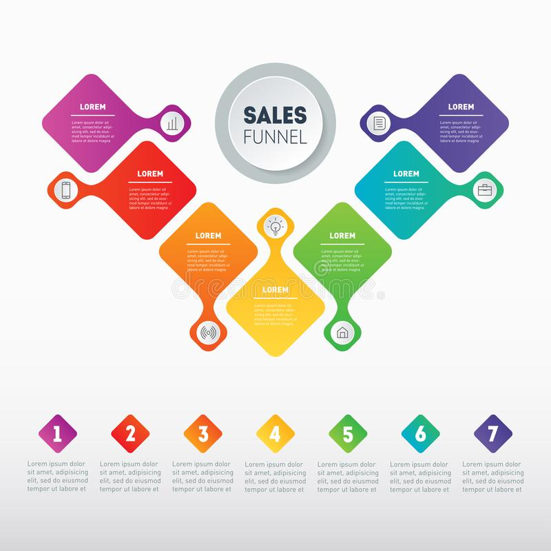 Business presentation concept with 7 options. Vector infographic of technology or education process with 7 steps. Web Template. Of a sales pipeline, purchase royalty free illustration