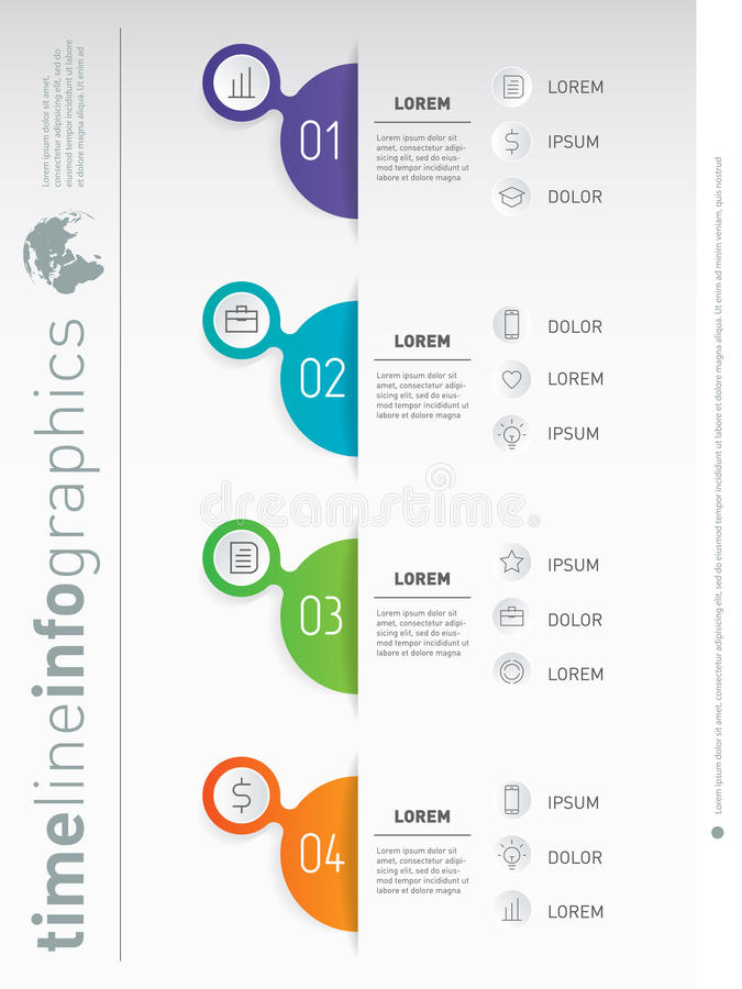 Business presentation concept with 4 options. Vertical infographics. Web Template of a info chart or diagram. Vector. Infographic of technology or education royalty free illustration