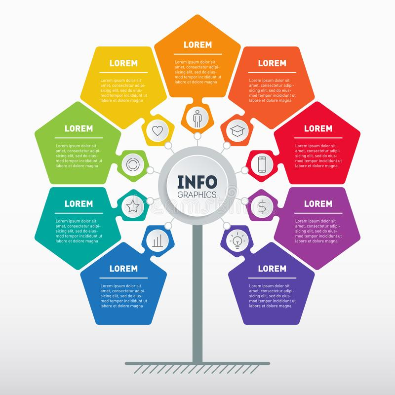 Business presentation concept with 9 options. Web Template of tree, info chart or diagram. Vector infographic of technology or. Education process with 9 steps stock illustration