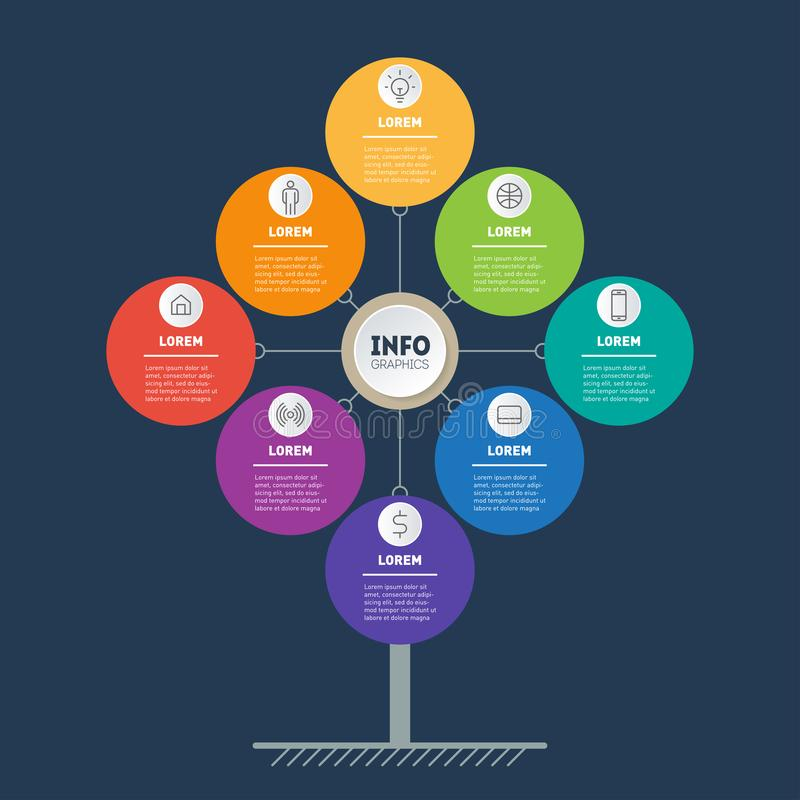 Business presentation concept with 8 points. Web Template of tree, info chart or diagram. Vector infographic of technology or. Education process with 8 steps vector illustration