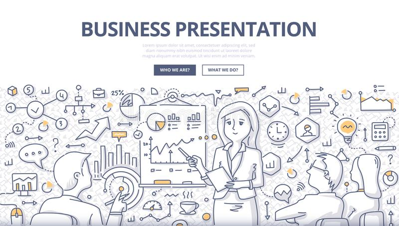 Business Presentation Doodle Concept. Doodle illustration of a businesswoman leading meeting, giving presentation to audience. Concept of business presentation stock illustration