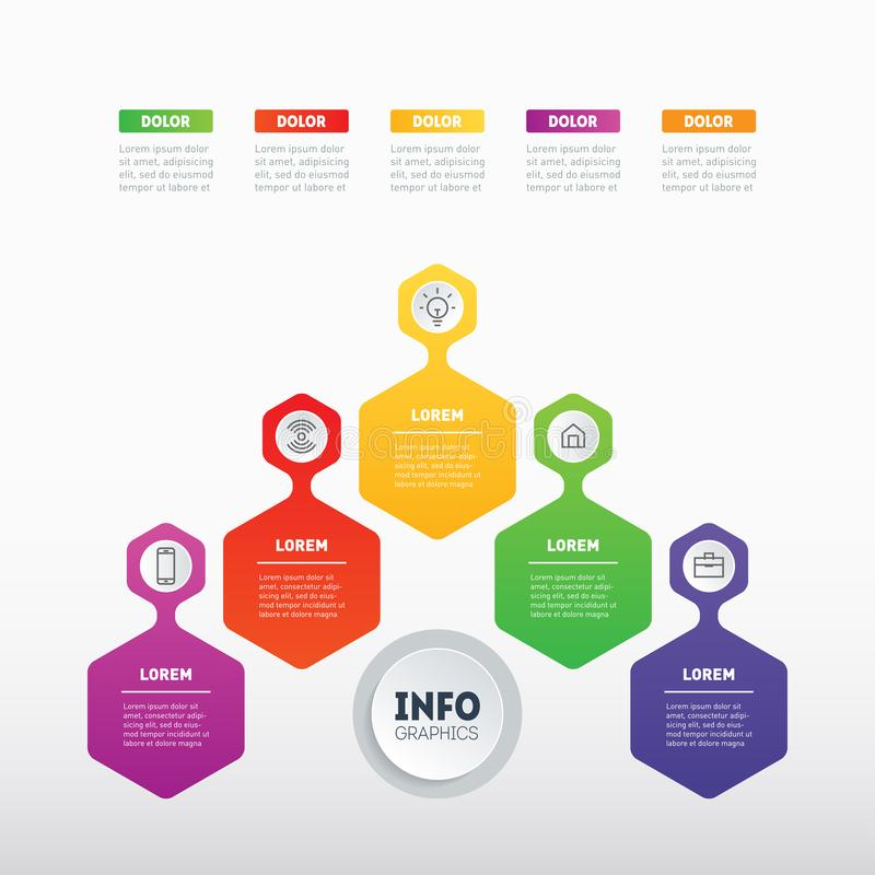 Business presentation or info graphic with 5 options. Web Template of a chart, mindmap or diagram with 5 steps. Vector. Infographics or mind map of technology stock illustration