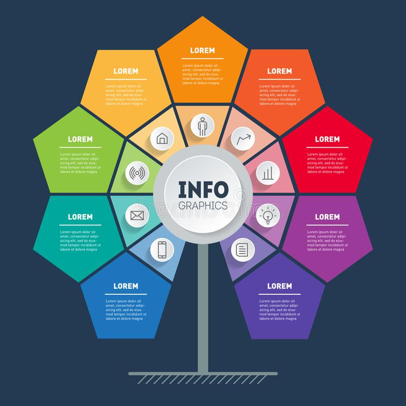 Business presentation or info graphics concept with 9 options. Template of sales funnel, chart or diagram with nine process. Vector infographic of technology royalty free illustration