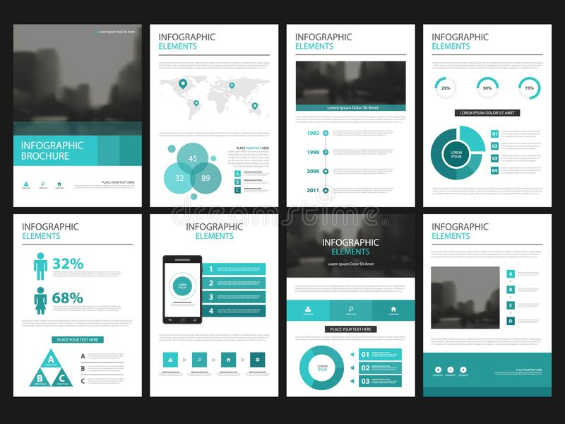 Business presentation infographic elements template set, annual report corporate brochure design. Template vector illustration