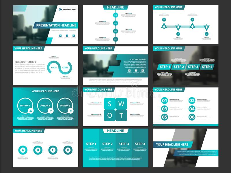 Business presentation infographic elements template set, annual report corporate horizontal brochure design vector illustration