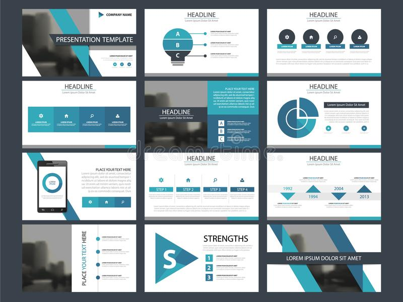 Business presentation infographic elements template set, annual report corporate horizontal brochure design stock illustration