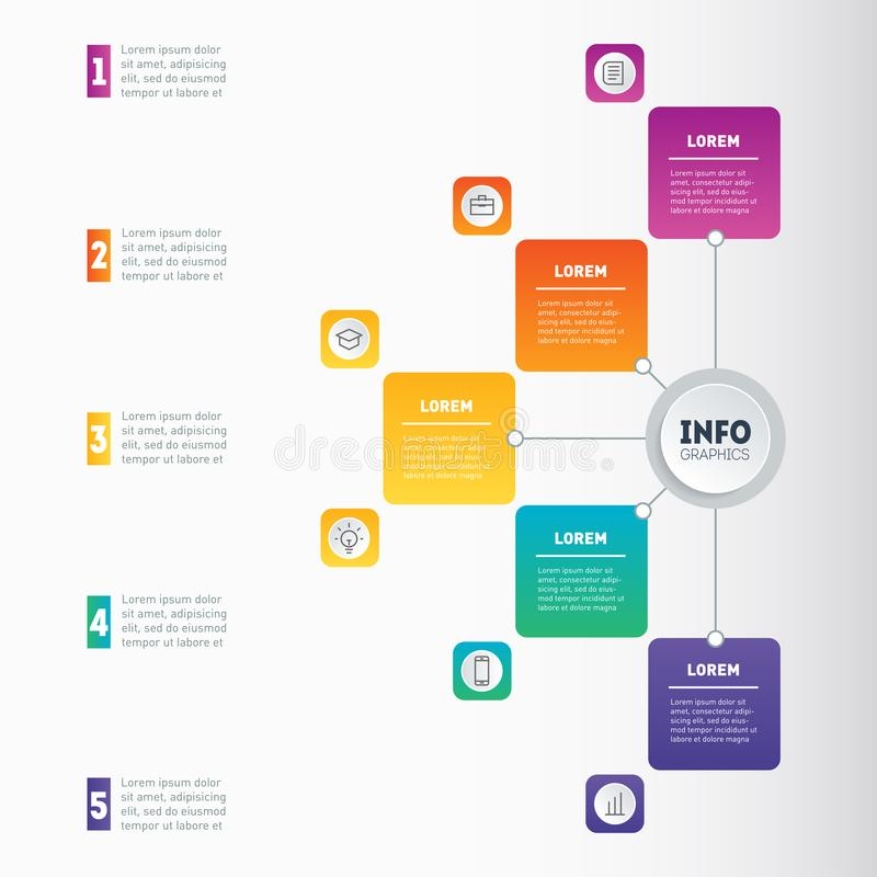 Business presentation or infographic with 5 options. Annual report. Example of a chart, mindmap or diagram with 5 steps. Vector i. Nfographics or mind map of royalty free illustration