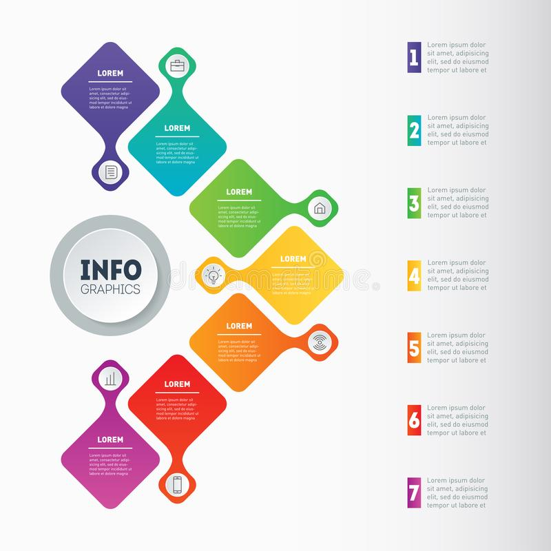 Business presentation or infographic with 7 options. Web Template of a chart, mindmap or diagram. Vector dynamic infographics or. Mind map of technology or vector illustration