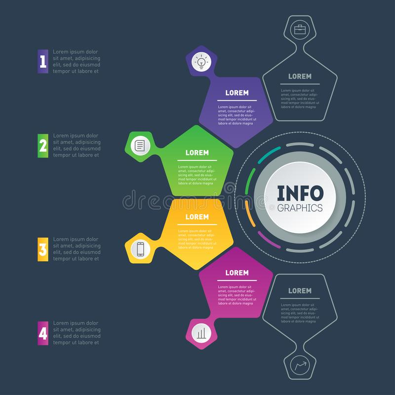 Business presentation or infographic with 4 options. Web Template of a chart, info graphic, mindmap or diagram. Vector. Infographics with 4 parts of technology stock illustration