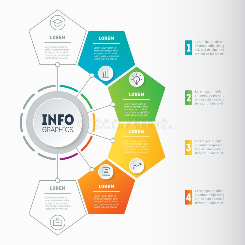 Business presentation or infographic with 4 options. Web Template of a chart, mindmap or diagram with 4 steps. Vector dynamic inf. Ographics or mind map of vector illustration