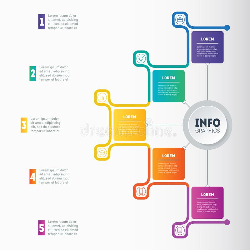 Business presentation or infographic with 5 options. Web Template of a chart, mindmap or diagram. Vector infographics or mind map. Of technology or education stock illustration