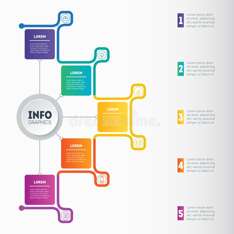 Business presentation or infographic with 5 options. Web Template of a chart, mindmap or diagram with 5 steps. Vector. Infographics or mind map of technology or vector illustration