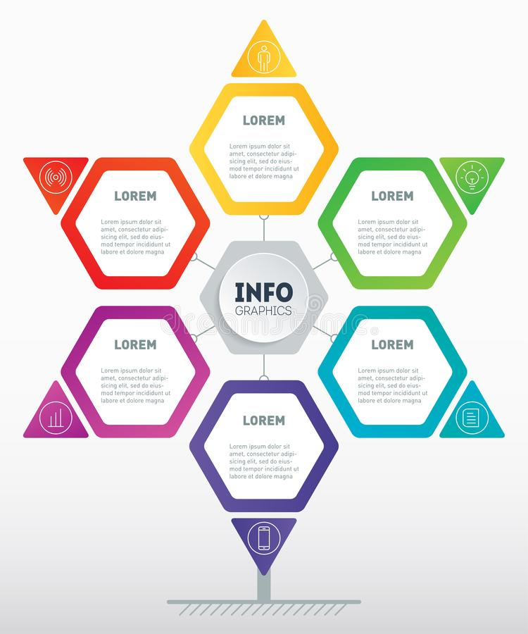 Business presentation or infographics concept with 6 options. Template of development tree, chart or diagram. Info graphic of. Technology or education process royalty free illustration