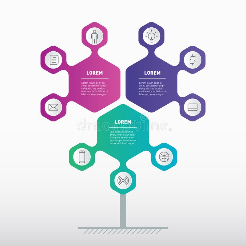 Business presentation or infographics concept with 3 options. Template of development tree, info chart or diagram. Vector info. Graphic of technology or stock illustration