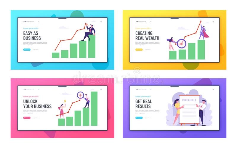 Business Presentation, Marketing Solution Development Website Landing Page Set, Employees Performing New Project. Idea, Data Analysis Arrow Graph, Web Page royalty free illustration