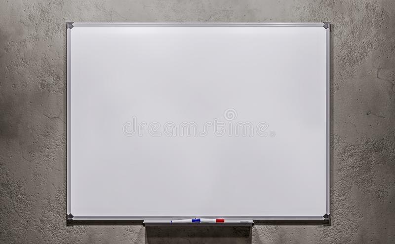 Business presentation office empty white board on concrete wall background mock up stock photo