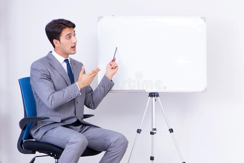 The business presentation in the office with man and woman royalty free stock photography