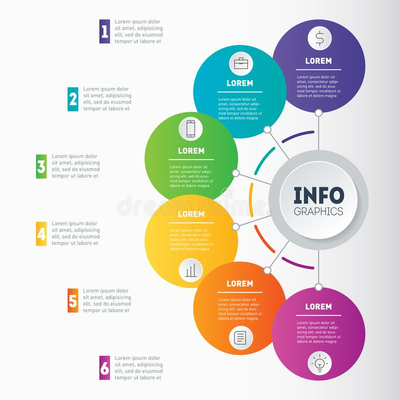 Free Business Presentation Or Infographic Examples With 6 Options. Vector Dynamic Infographics Or Mind Map Of Technology Or Education Stock Images - 104489154