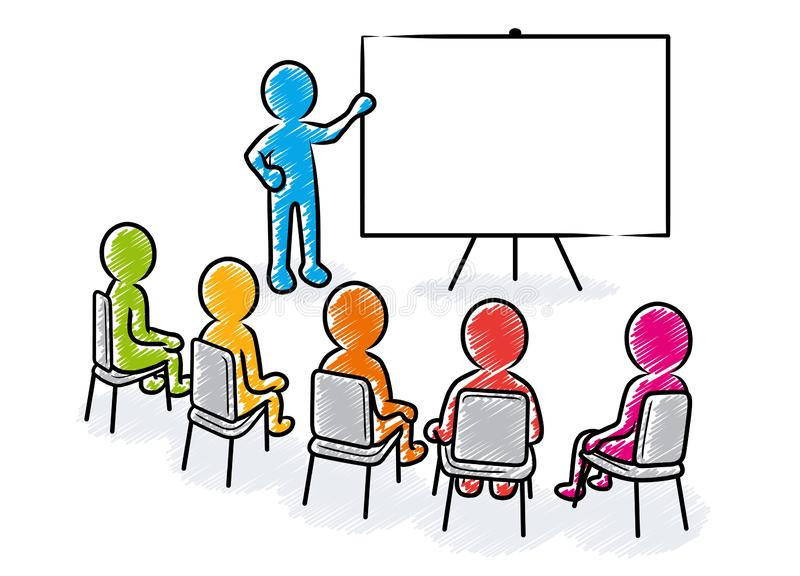 Business presentation: Speaker with blank board and spectators. Business presentation: Speaker points to a blank white board in front of a sitting spectators / royalty free illustration
