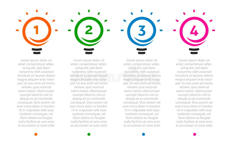 Business presentation, table with 4 lightbulbs timeline. Options number, ideas logo, steps icons. Vector Infographic. Element stock illustration