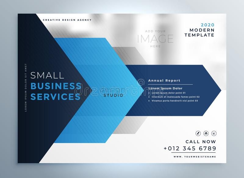 Business presentation template design in blue geometric shape st. Yle stock illustration