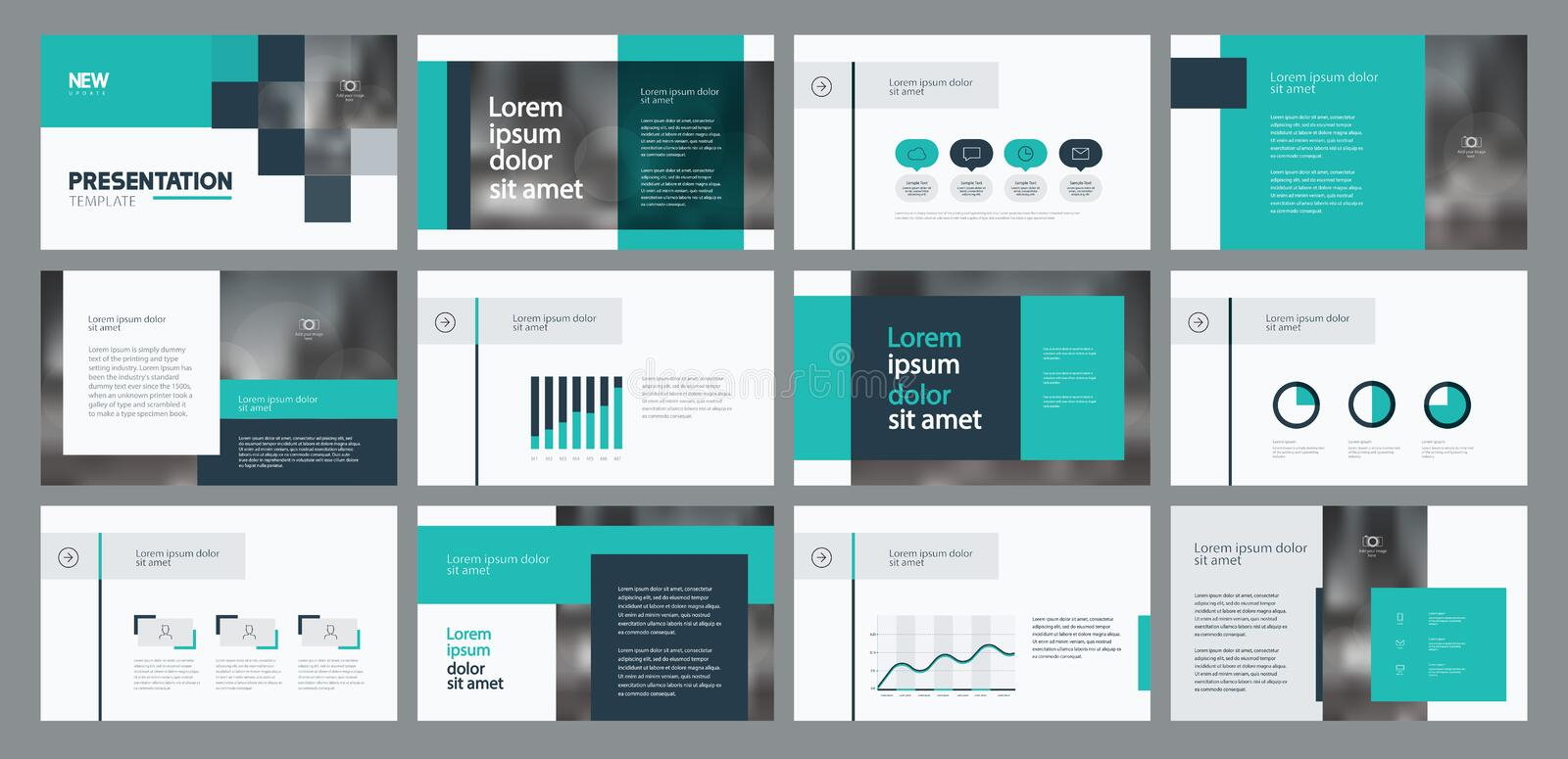 Business presentation template design and page layout design for brochure ,annual report and company profile. With info graphic elements stock illustration
