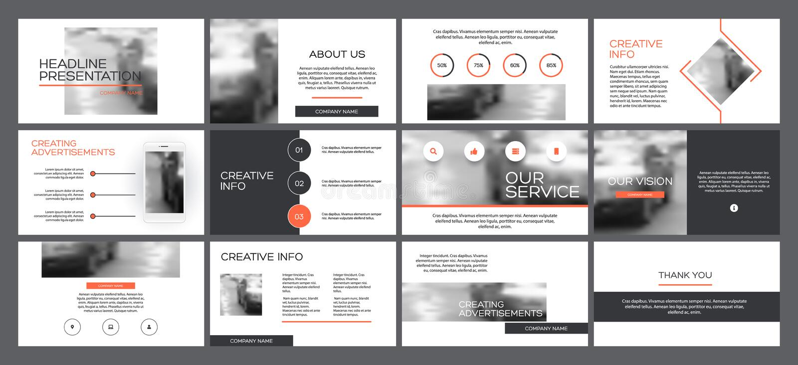 Business presentation templates from infographic elements. vector illustration