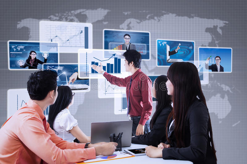 Business presentation using futuristic interface. Business team is looking at leader's presentation on business futuristic interface royalty free illustration