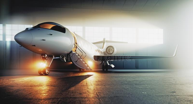 Business private jet airplane parked at terminal and ready to flight. Luxury tourism and business travel transportation. Concept. 3d rendering stock illustration