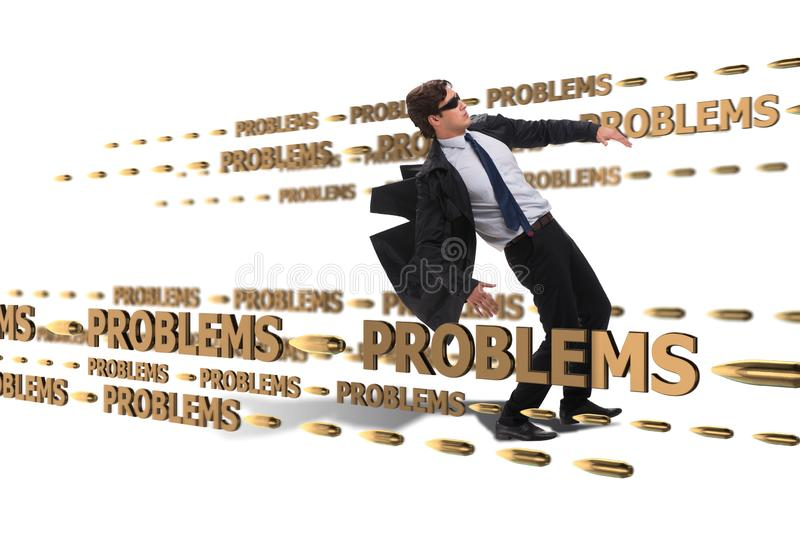 The business problem and challenge concept with businessman. Business problem and challenge concept with businessman stock photography