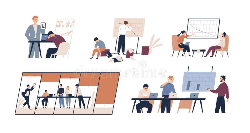 Business problem flat vector illustrations set. Profit drop, rating decrease, company bankruptcy concept. Financial. Trouble, bad leadership, burnout. Stressed stock illustration