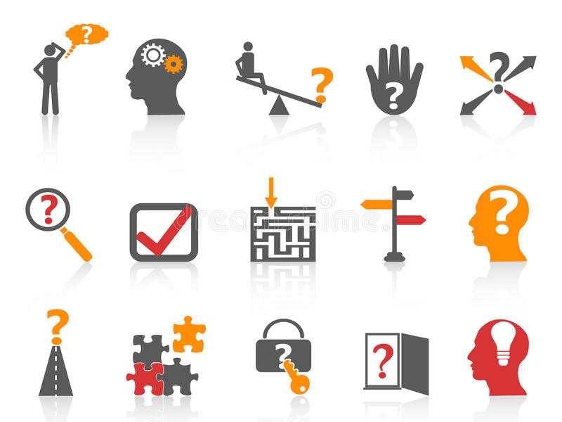 Business problem solving icons,orange color series. From white background stock illustration