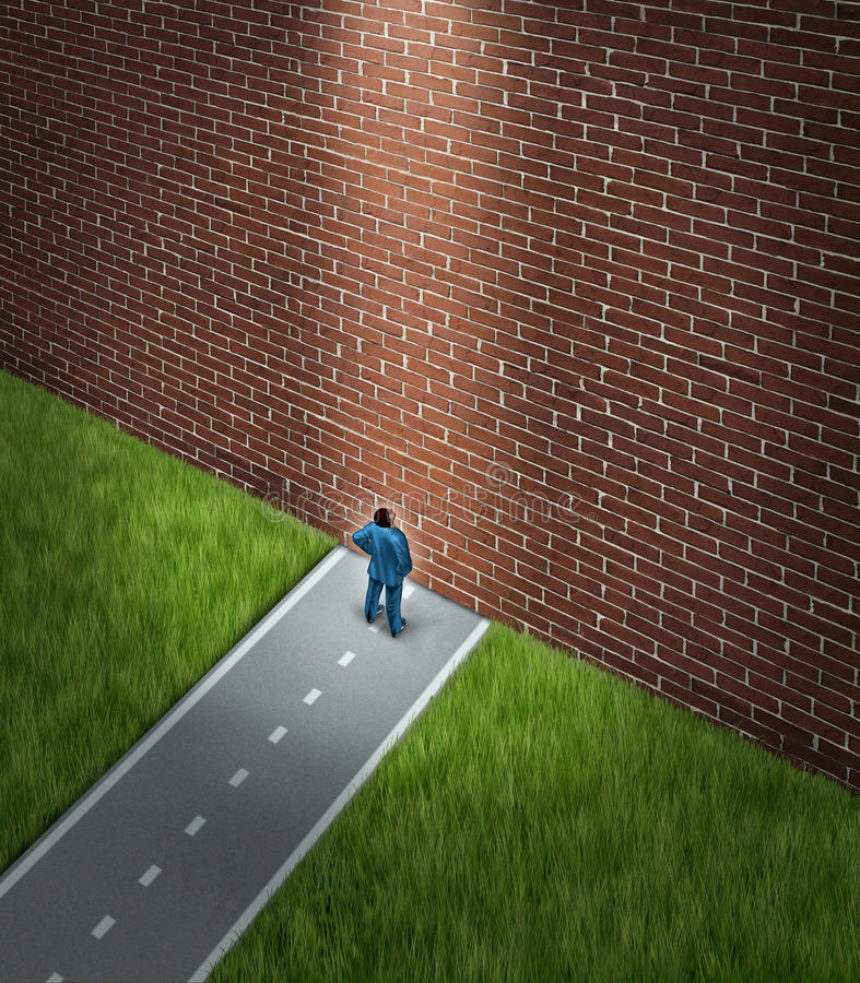 Business Problems. And conquering adversity concept with a confused businessman on a strategic journey meeting an obstacle and being blocked by a huge brick royalty free illustration