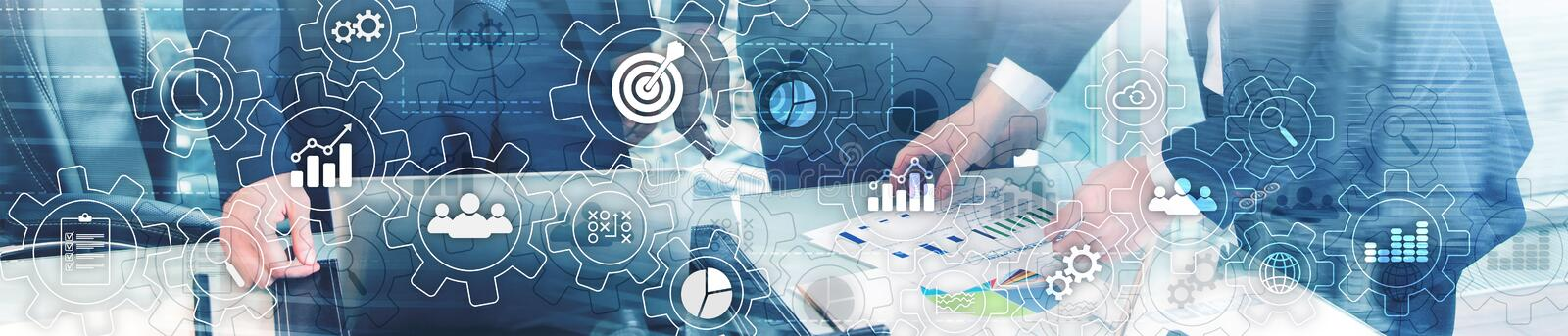 Business process abstract diagram with gears and icons. Workflow and automation technology concept. Website header. Banner stock image