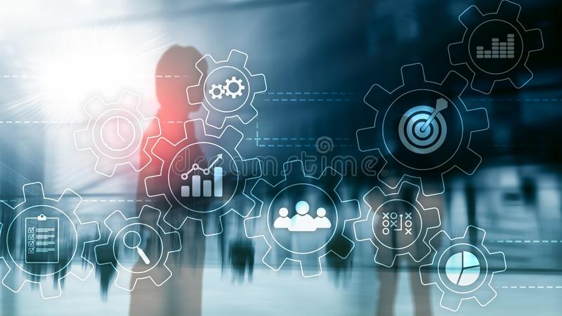 Business process automation concept. Gears and icons on abstract background vector illustration