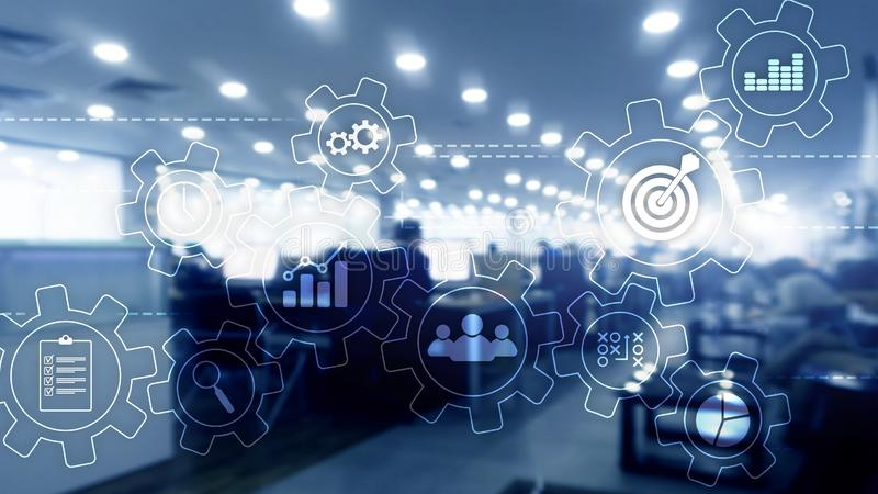 Business process automation concept. Gears and icons on abstract background. Double exposure gears mechanism on blurred background. Business and industrial vector illustration