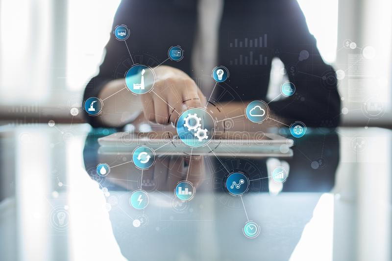 Business process Automation, Smart industry 4.0. Internet of things and software development. Business process Automation, Smart industry 4.0. Internet of royalty free stock photos