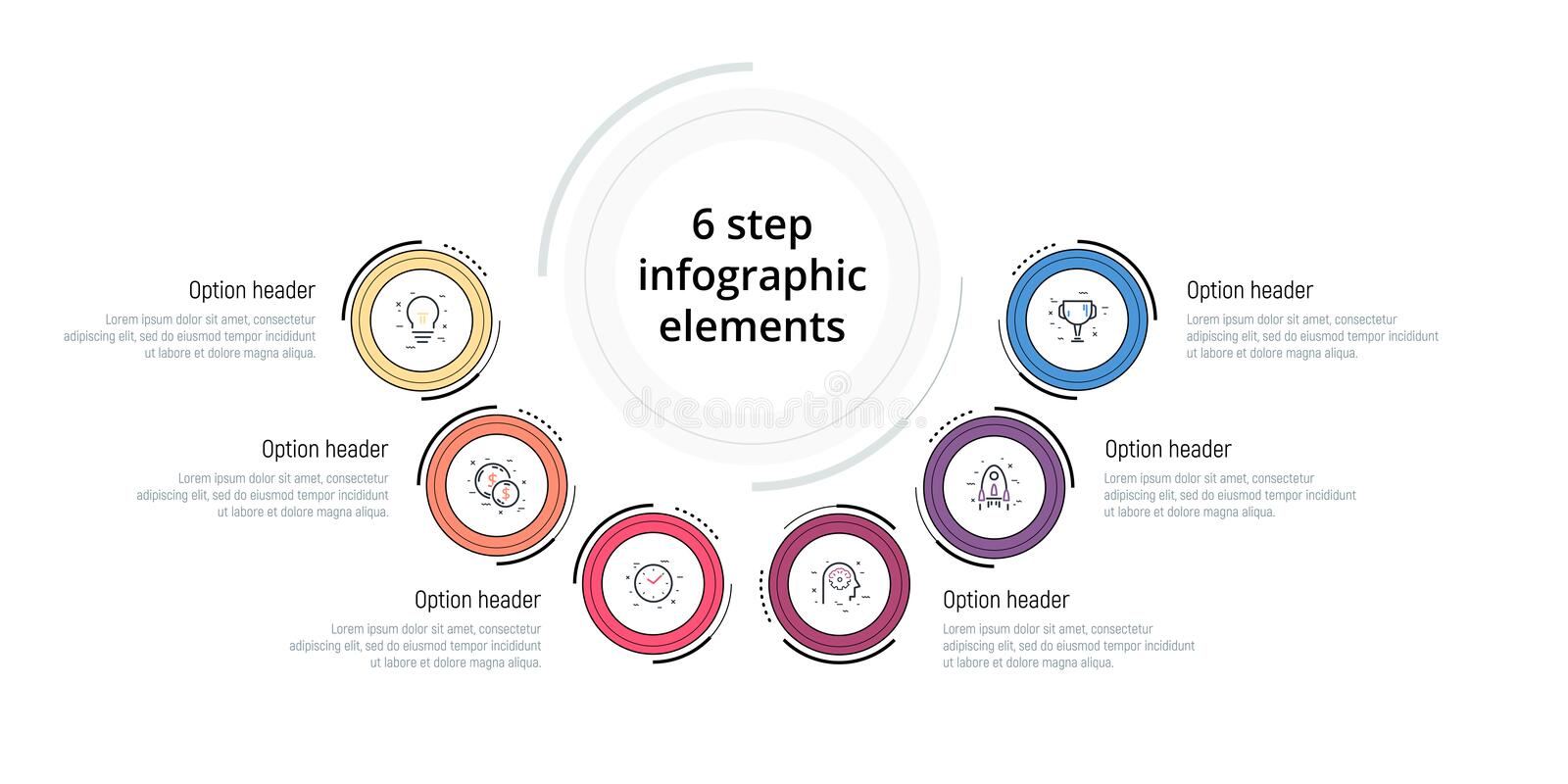 Business process chart infographic with 6 step circles. Circular corporate workflow graphic elements. Company flowchart. Presentation slide template. Vector vector illustration