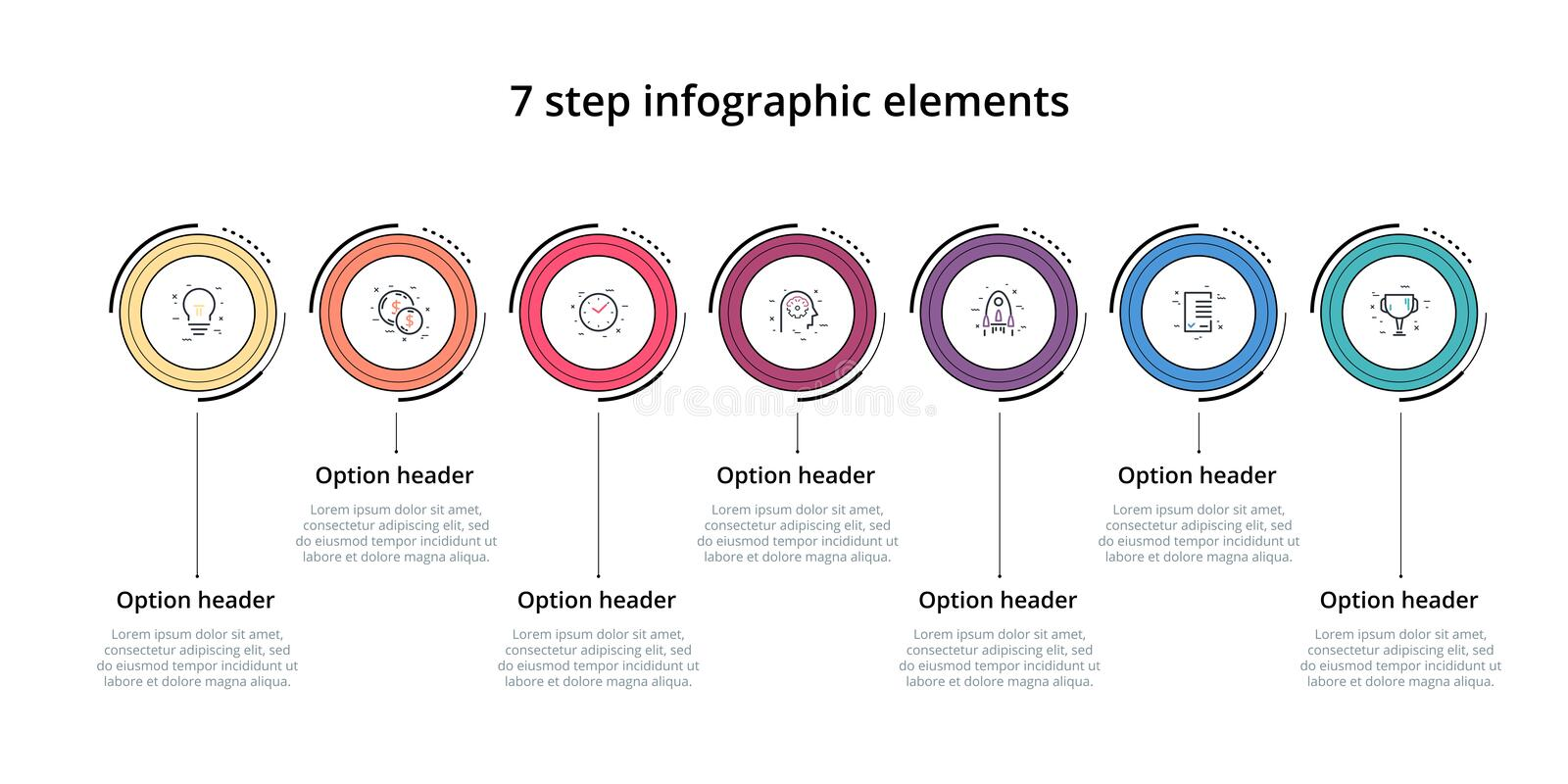 Business process chart infographic with 7 step circles. Circular corporate workflow graphic elements. Company flowchart. Presentation slide template. Vector stock illustration