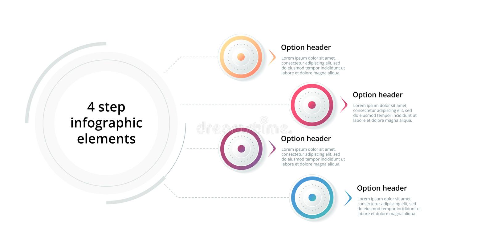 Business process chart infographic with 4 step circles. Circular corporate workflow graphic elements. Company flowchart. Presentation slide template. Vector royalty free illustration
