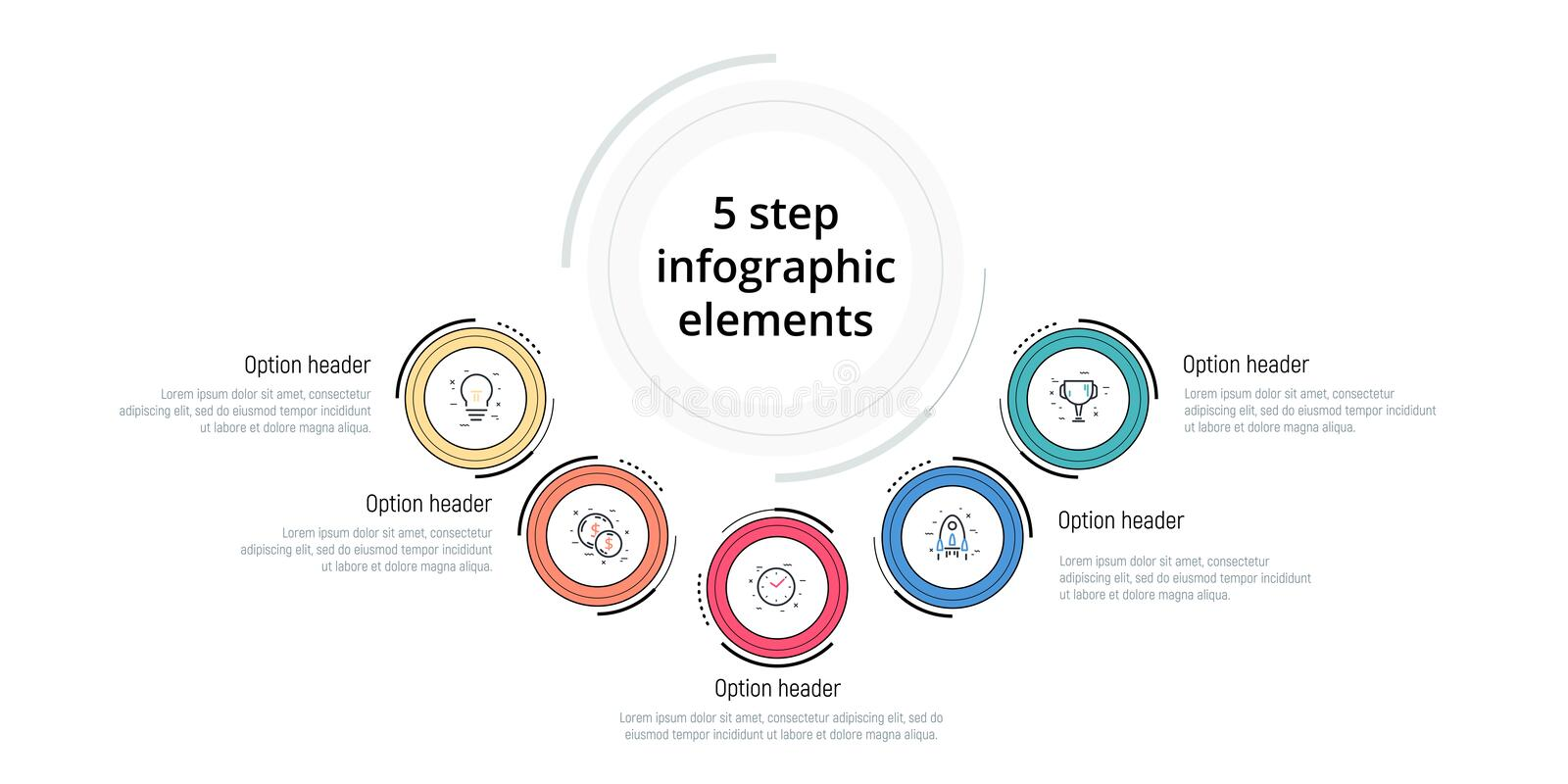 Business process chart infographic with 5 step circles. Circular corporate workflow graphic elements. Company flowchart. Presentation slide template. Vector vector illustration