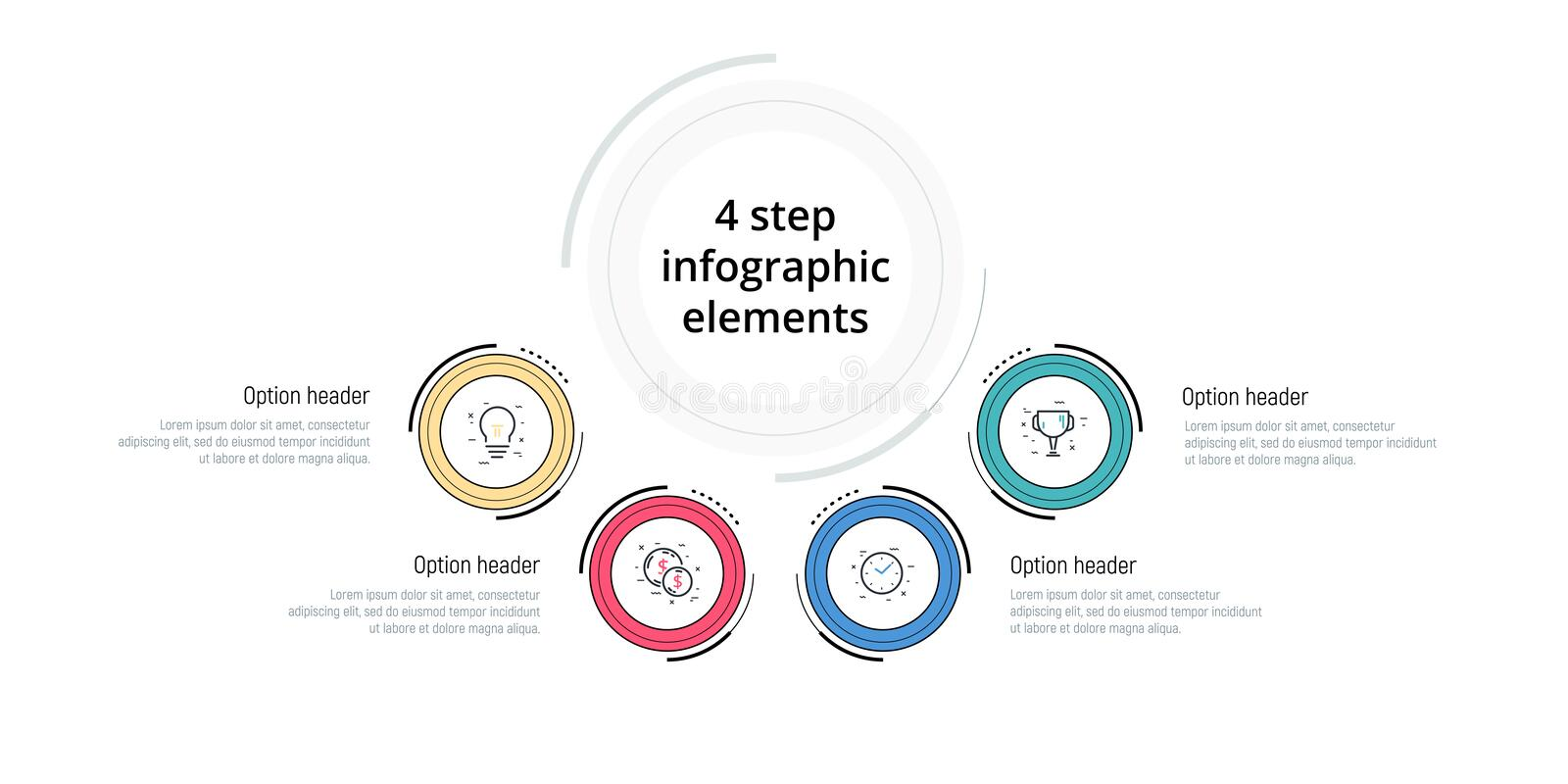 Business process chart infographic with 4 step circles. Circular corporate workflow graphic elements. Company flowchart. Presentation slide template. Vector stock illustration
