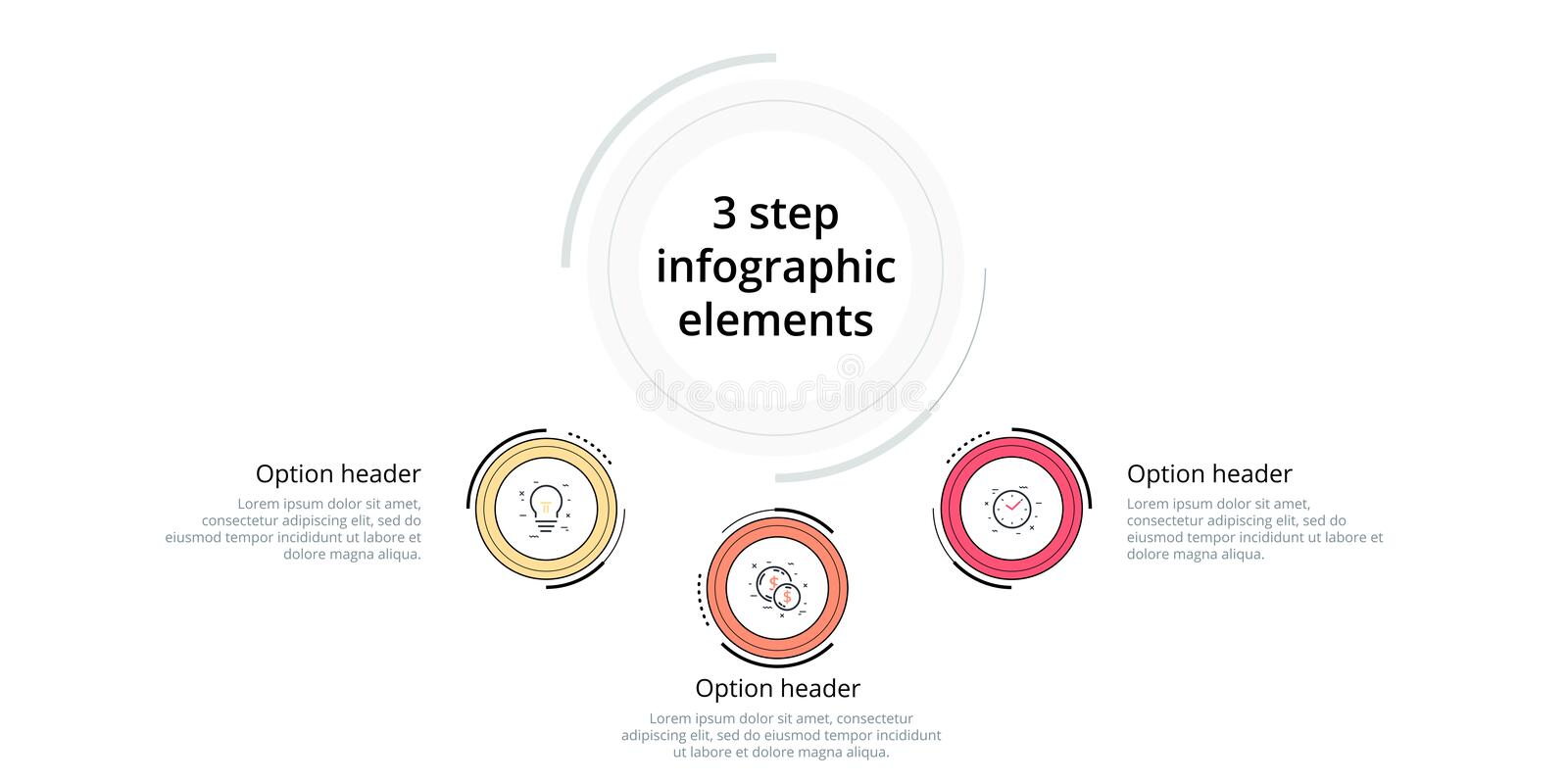 Business process chart infographic with 3 step circles. Circular corporate workflow graphic elements. Company flowchart. Presentation slide template. Vector vector illustration