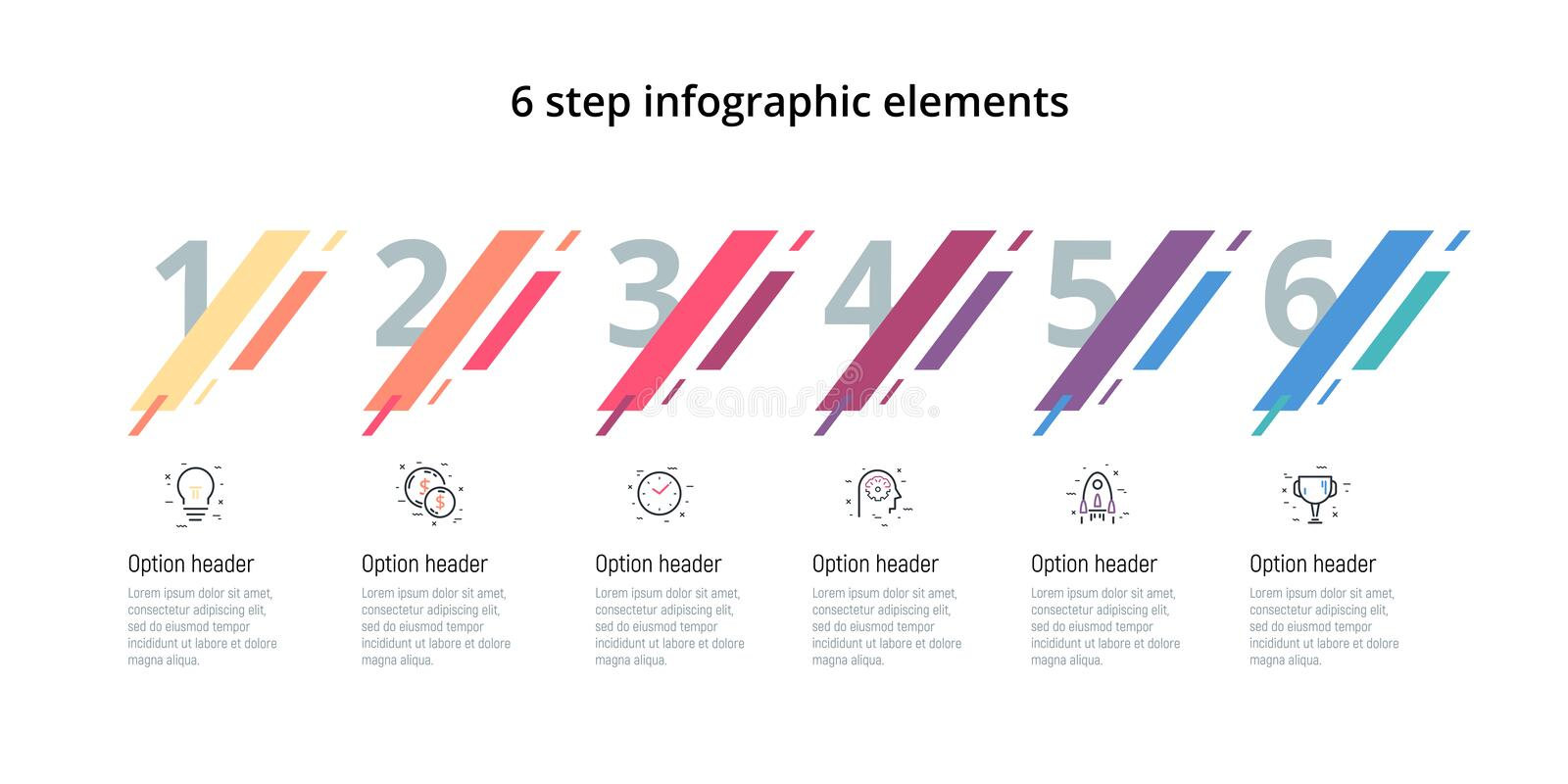 Business process chart infographic with 6 steps. Modern corporate workflow graphic elements. Company flowchart presentation slide. Template. Vector info graphic vector illustration