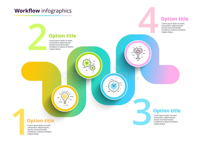 Business process chart infographics with 4 step circles. Circular corporate workflow graphic elements. Company flowchart. Presentation slide template. Vector royalty free illustration