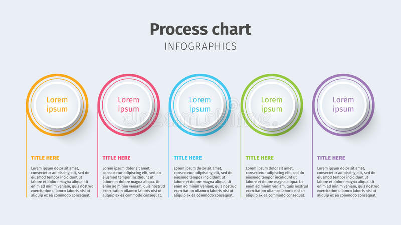 Business process chart infographics with step circles. Circular corporate timeline graphic elements. Company presentation slide te stock illustration